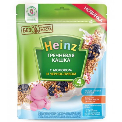 Гречневая кашка Хайнц с молоком и черносливом, пакет 250 гр