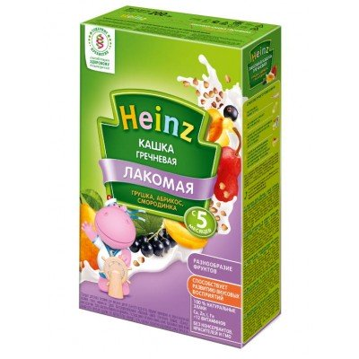 Лакомая кашка Heinz молочная гречневая груша-абрикос-смородина с 5 мес, 200 гр