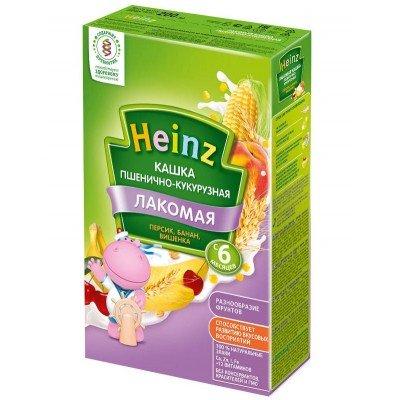 Лакомая кашка Heinz молочная пшенично-кукурузная персик-банан с 5 мес, 200 гр