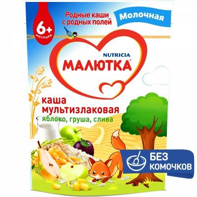 Каша молочная Малютка мультизлаковая с яблоком, грушей и сливой с 6 мес. 220 гр