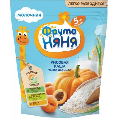 Каша молочная ФрутоНяня рисовая с тыквой и абрикосом с 5 мес. 200 гр