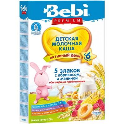 Каша Bebi Premium молочная 5 злаков с абрикосом и малиной с 6 мес, 200 гр
