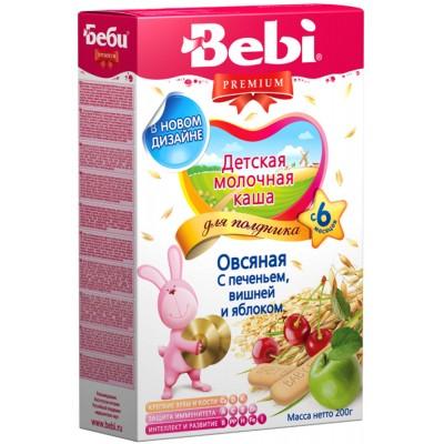 Каша молочная Bebi Premium овсяная с печеньем, вишней и яблоком с 6 мес. 200 г