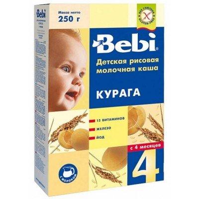 Каша Bebi молочная, рисовая с курагой, с 4х мес. 250гр.