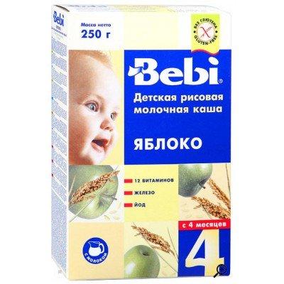 Каша Bebi молочная рисовая и яблоком 250 гр с 4 мес