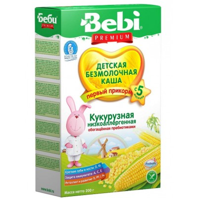 Каша Bebi Premium безмолочная, кукурузная низкоаллергенная с пребиотиками, с 5 мес., 200гр.