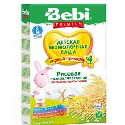 Каша Bebi Premium безмолочная, рисовая низкоаллергенная с пребиотиками, с 4 мес. 200гр.