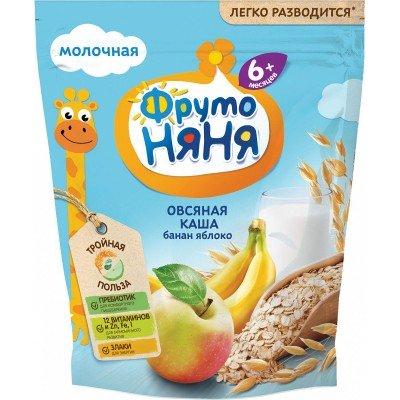 Каша ФрутоНяня молочная овсяная с бананом и яблоком 200 г с 6 месяцев