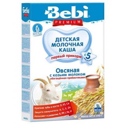 Каша Bebi на козьем молоке, овсяная, обогащенная пребиотиками, с 5 мес., 200гр.