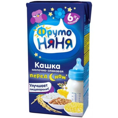 (Упак 27х0.2л) Кашка ФрутоНяня молочная злаковая с 6 месяцев
