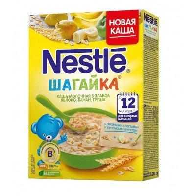 Каша Nestle «Шагайка» молочная 5 злаков, яблоко, банан, груша 200 гр с 12 мес