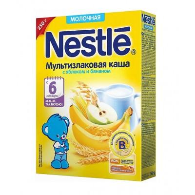 Каша Nestle молочная мультизлаковая с яблоком и бананом с 6 мес. 250 гр