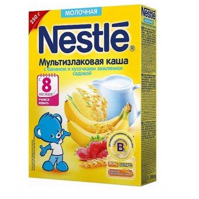 Каша молочная Nestle мультизлаковая с бананом и кусочками земляники с 8 мес. 250 гр