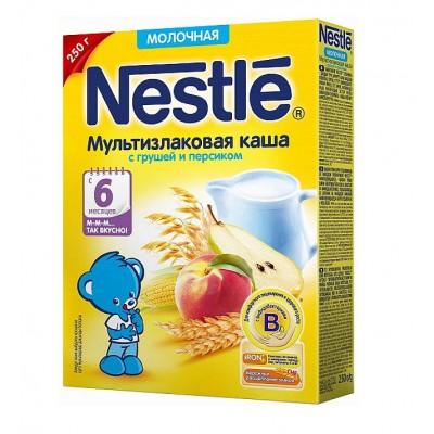 Каша молочная Nestle мультизлаковая с грушей и персиком с 6 мес. 250 гр
