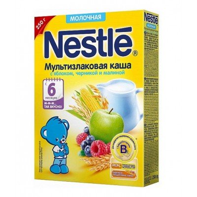 Каша молочная Nestle мультизлаковая с яблоком, черникой и малиной 250 гр с 6 мес