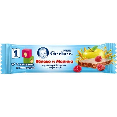 (Упак 18х25гр) Батончик Gerber DoReMi фруктово-злаковый с яблоком и малиной с 12 мес