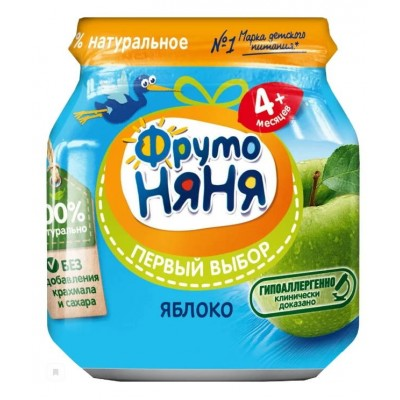 (Упак 12х100гр) Пюре ФрутоНяня Яблоко гипоаллергенное с 4 мес