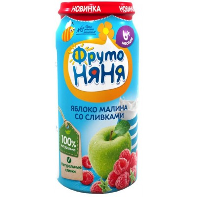 (Упак 12х250гр) Пюре ФрутоНяня яблоко-малина со сливками и сахаром с 6 месяцев