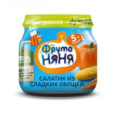 (Упак 12х80гр) Пюре ФрутоНяня Салатик из сладких овощей с 5 мес
