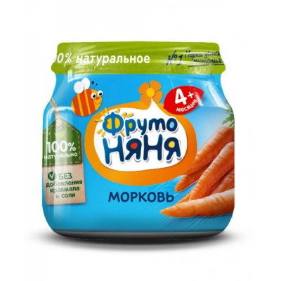 (Упак 12х80гр) Пюре ФрутоНяня из моркови с 4 месяцев