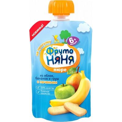(Упак 12х90гр) Пюре ФрутоНяня Яблоко банан груша с печеньем с 6 мес, пауч