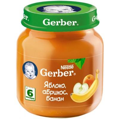 (Упак 12х130гр) Пюре Gerber Яблоко, абрикос, банан