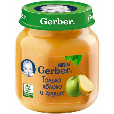 (Упак 12х130гр) Пюре Gerber Яблоко и груша