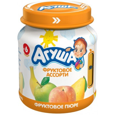 Пюре Агуша фруктовое ассорти, упак  12х115 гр