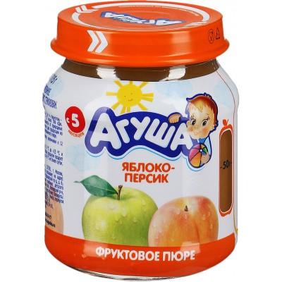 Пюре Агуша Яблоко-персик, упак 12х115 гр