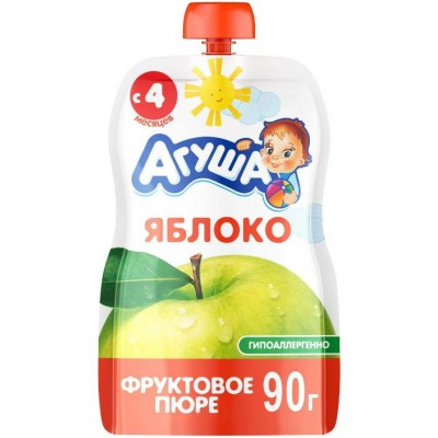 (Упак 10х90гр) Пюре Агуша Яблоко с 4 мес, Doy-pack