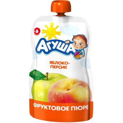 (Упак 10х90гр) Пюре Агуша Яблоко-персик, Doy-pack