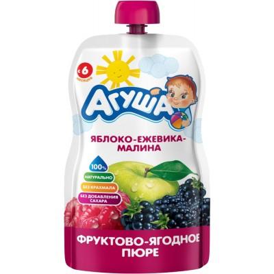 (Упак 10х90гр) Пюре Агуша Яблоко-ежевика, малина, Doy-pack