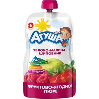 (Упак 10х90гр) Пюре Агуша Яблоко малина шиповн, Doy-pack