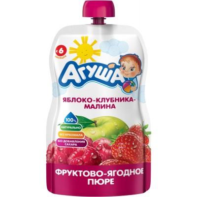 (Упак 10х90гр) Пюре Агуша Яблоко клубника малина, Doy-pack