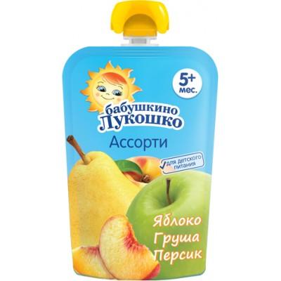 (Упак 12х90гр) Пюре Бабушкино Лукошко Яблоко, груша и персик с 5 мес. 90 г (пауч)