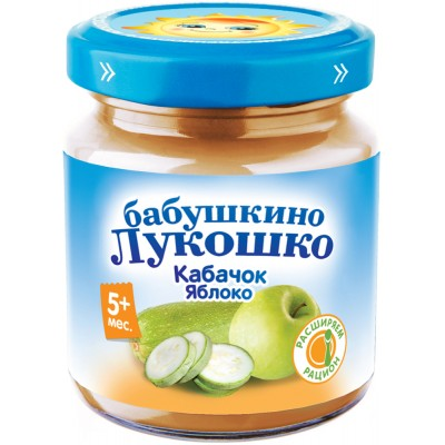 (Упак 6х100гр) Пюре Бабушкино Лукошко Кабачок-яблоко с 5 мес
