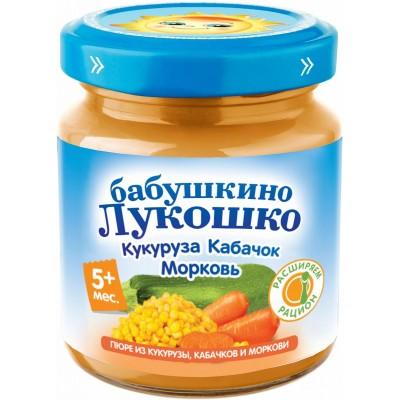 (Упак 6х100гр) Пюре Бабушкино Лукошко Кукуруза, кабачки и морковь с 5 мес