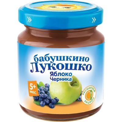 (Упак 6х100гр) Пюре Бабушкино Лукошко Яблоко-черника с 5 мес