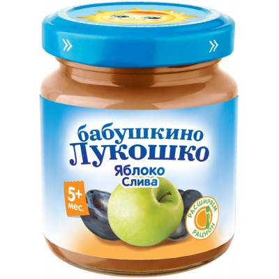 (Упак 6х100гр) Пюре Бабушкино Лукошко Яблоко-слива с 5 мес