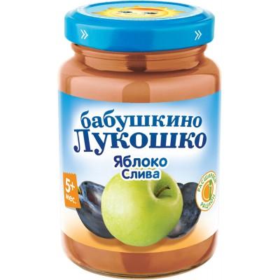 (Упак 6х200гр) Пюре Бабушкино лукошко Яблоко-слива с 5 мес
