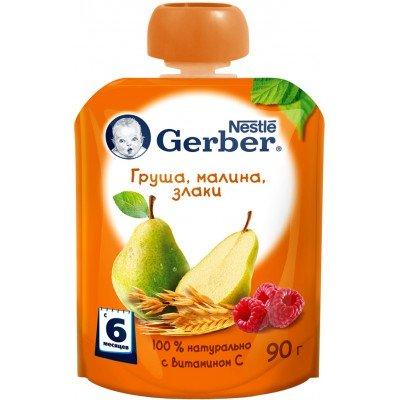 (Упак 16х90гр) Пюре Gerber Груша, малина, злаки с 6 мес. 90 г (пауч)