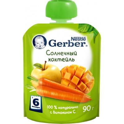 (Упак 8х90гр) Пюре Gerber Солнечный коктейль с 6 мес. 90 г (пауч)