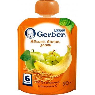 (Упак 16х90гр) Пюре Gerber Яблоко, банан, злаки с 6 мес. 90 г (пауч)