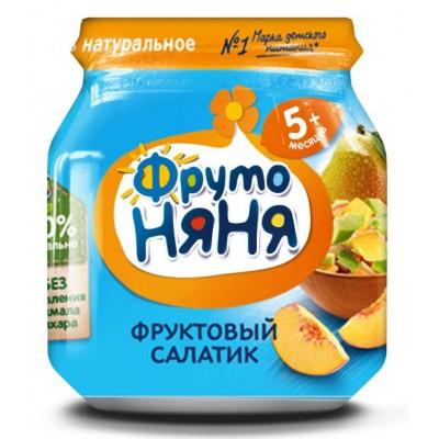 (Упак 12х100гр) Пюре ФрутоНяня фруктовый салатик с 5 месяцев