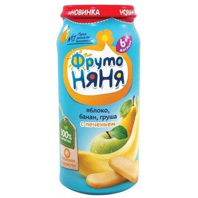 (Упак 12х250гр) Пюре ФрутоНяня Яблоко Банан Груша и печенье с 6 месяцев