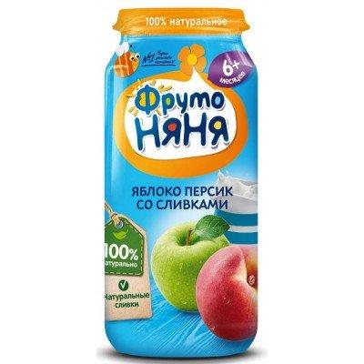 (Упак 12х250гр) Пюре ФрутоНяня из яблок и персиков со сливками с 6 месяцев