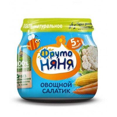 (Упак 12х80гр) Пюре ФрутоНяня овощной салатик с 5 месяцев