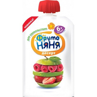 Десерт ФрутоНяня Яблоко клубника малина, упак 12х90 гр c 6 мес