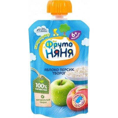 (Упак 12х90гр) Пюре ФрутоНяня Яблоко персик творог с 6 мес, (пауч)