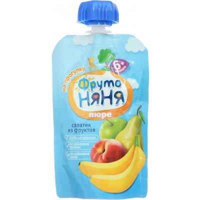(Упак 12х90гр) Пюре ФрутоНяня Салатик из фруктов 4 фрукта, с 6 мес, пауч